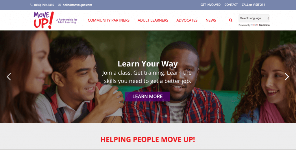 screen shot of moveupct.org home page